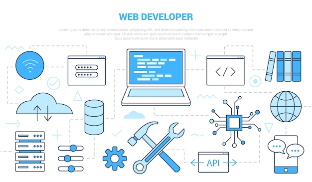 Web-website-entwicklerkonzept mit icon-set-vorlagenbanner mit moderner blauer farbstilillustration