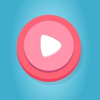 Web weiß rosa rot play button cartoon funy game button interface-elemente set premium-vektor