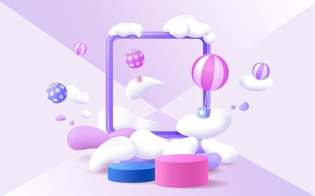 Web3d-rendering-podium im kinderstil mit buntem pastellhintergrund, wolken und wetter mit platz für kinder oder babyprodukte