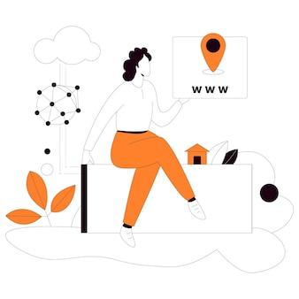 Webadresse business flat style illustrationsset