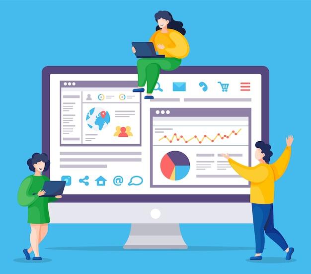 Webanalyse-informationen und statistik der entwicklungswebsite. web-cms-analysemaßnahme, produkttesttechnologie, big-data-analyse. seo-optimierung der dashboard-site. digitale marketingberichte, flach