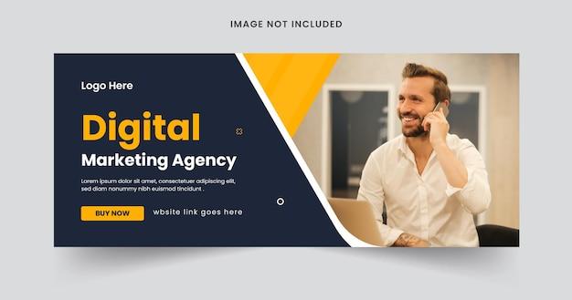 Webbanner einer agentur für digitales marketing oder bearbeitbares banner für soziale medien