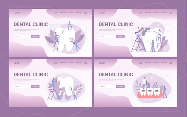 Webbanner oder landingpage der zahnklinik et. zahnmedizin. idee der zahnpflege und mundhygiene. medizin und gesundheit. stomatologie und zahnbehandlung.