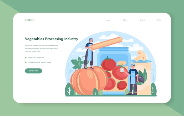 Webbanner oder zielseite der gemüseanbauindustrie