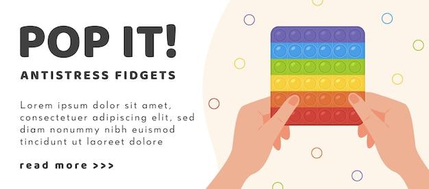 Webbanner pop it antistress zappelspielzeug in regenbogenfarbe mit erwachsener handillustration