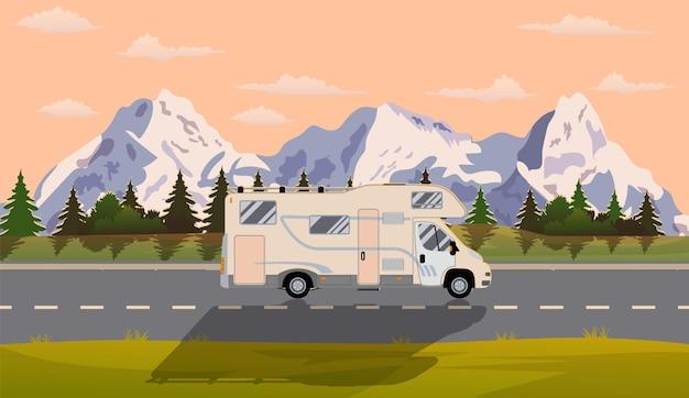 Webbanner zum thema roadtrip