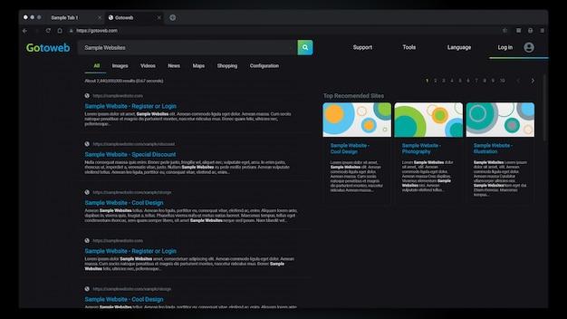 Webbrowser-ergebnisse dark mode interface