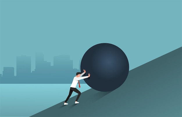 Webbusinessman schiebt großen felsbrocken bergauf illustration. erfolg haben und hinderniskonzept überwinden.
