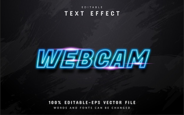 Webcam-text, blauer neonstil-texteffekt