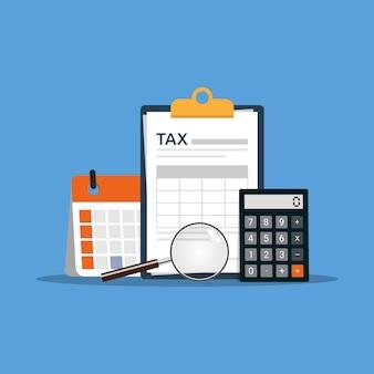 Webconcept-steuerzahlung. datenanalyse, papierkram und berechnung der steuererklärung