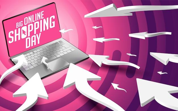 Webcursorpfeile bewegen sich zum laptop