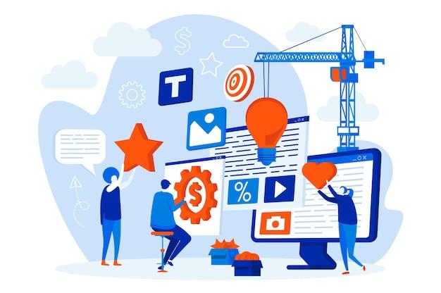 Webdesign der kreativagentur mit personencharakteren