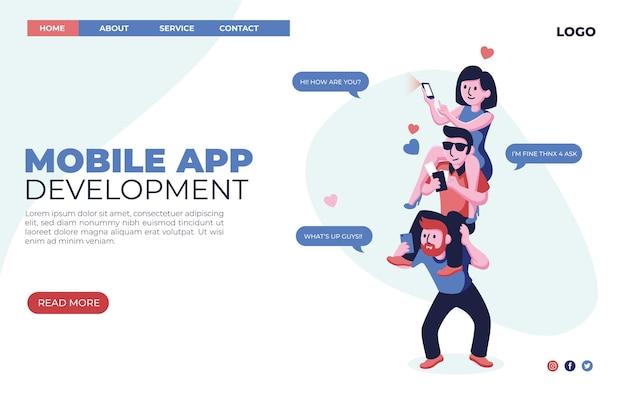 Webdesign der landingpage für die entwicklung einer flachen mobilen app für flache mobile apps