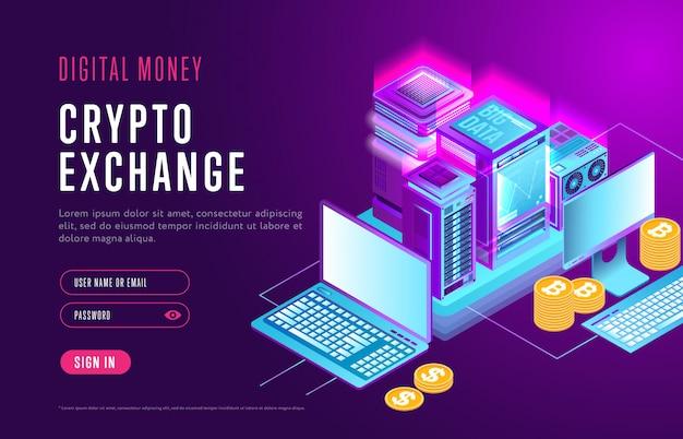 Webdesign der seite für den krypto-austausch