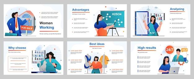 Webdesign-konzept für präsentationsfolienvorlage weibliche berufe geschäftsfrau lehrerin