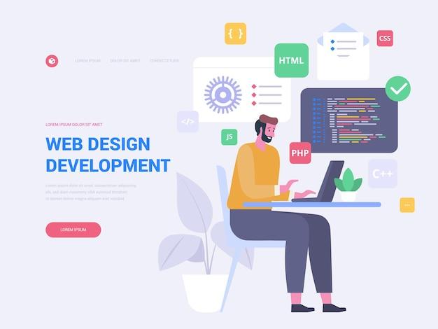 Webdesign-landingpage-vektorvorlage. codierung, programmierung der website-homepage-schnittstellenidee mit flachen illustrationen. digitales marketing. grafikdesign-entwicklung web-banner-cartoon-konzept