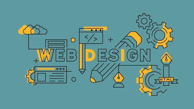 Webdesign-orange im blauen liniendesign