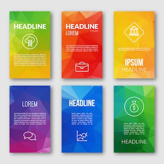 Webdesign-set-vorlage, dreieckige business-banner