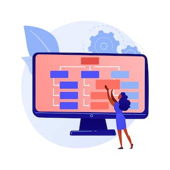 Webdesign und erstellung von inhalten. landing page, website, homepage, die ein gestaltungselement erstellt. weibliche grafikdesignerin, flache charakterkonzeptillustration des entwicklers