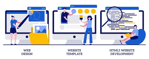 Webdesign, website-vorlage, html5-entwicklungskonzept mit kleinen leuten. abstrakter illustrationssatz des website-gebäudedienstes. zielseite, benutzeroberfläche, benutzererfahrung, konstruktorplattform.
