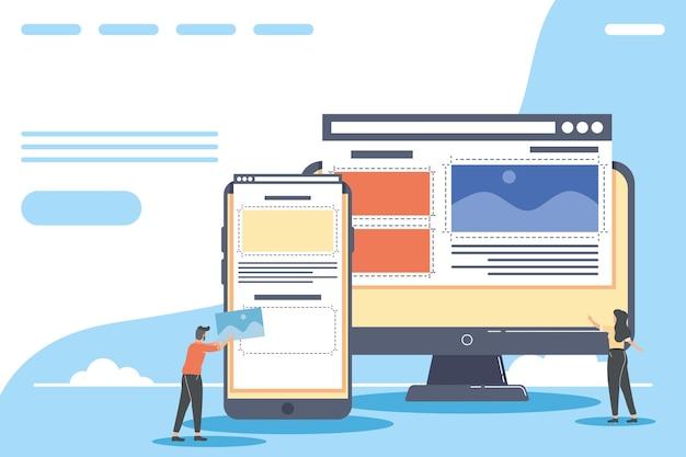 Webdesigner koppeln arbeitercharaktere
