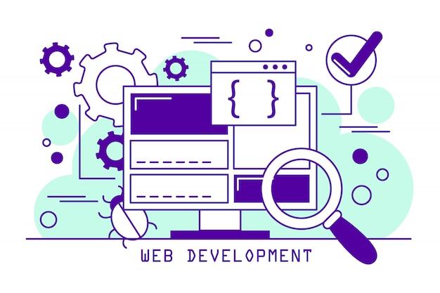 Webentwicklung line art banner. codierungssoftware und programmierung. inhalt für die website. informationstechnologiekonzept.