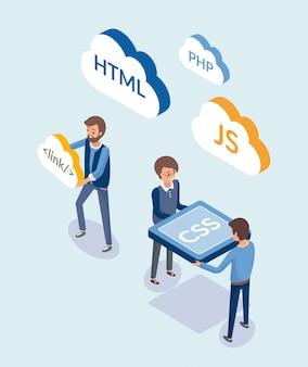 Webentwicklung, menschen mit programmiersprachen