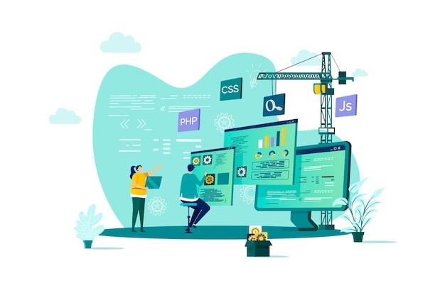 Webentwicklungskonzept mit stil mit personencharakteren in der situation