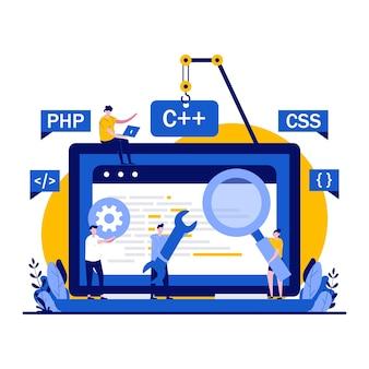Webentwicklungskonzept mit winzigem charakter.