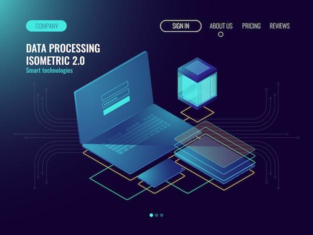 Webhosting, benutzeroberflächenentwicklungslaborkonzept, datenspeicher in der wolke