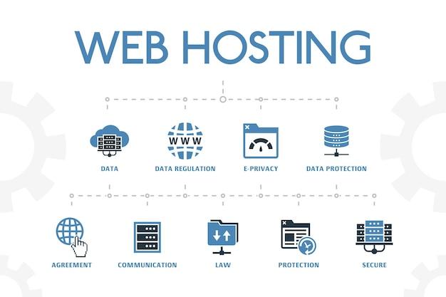 Webhosting moderne konzeptvorlage mit einfachen 2 farbigen symbolen. enthält symbole wie domainname, bandbreite, datenbank, internet und mehr