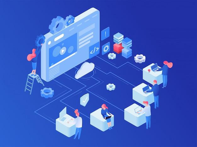 Webhosting-plattform isometrisch
