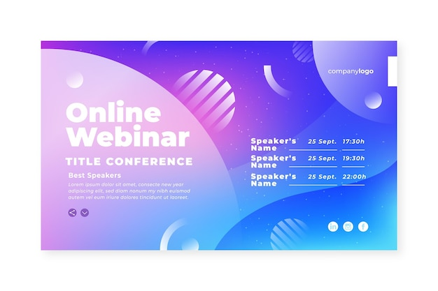 Webinar banner einladungsvorlage mit farbverlauf