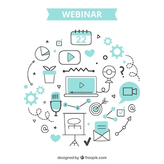Webinar-konzept mit kreativen elementen