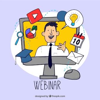 Webinar-konzept mit mann zu erklären