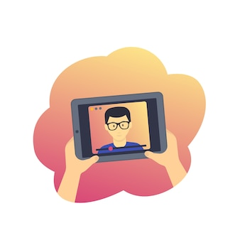 Webinar, online-bildung, e-learning, tablet mit video-vorlesungsillustration