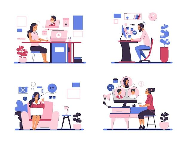 Webinar. online-meeting- und selbstbildungskonzept mit geschäftszeichentrickfiguren, die zu hause bleiben. vektorillustrationen online-lektionen und tutorials wie pädagogische vorlagenseiten