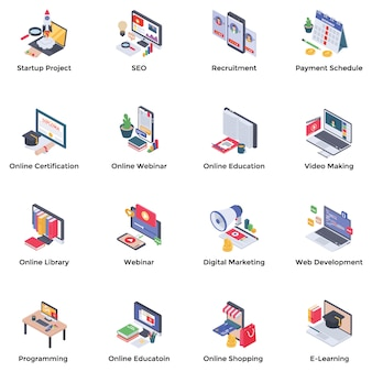 Webinar podcasting isometrische icons set
