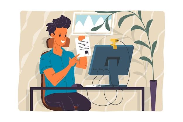 Webinar-vektor-illustration, online-meeting-konzept, arbeit von zu hause aus, flaches design. videokonferenzen, telearbeit, soziale distanzierung, geschäftsgespräche. charakter, der online mit kollegen spricht.
