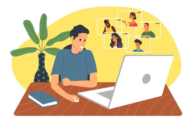 Webinar-vektorillustration, online-meeting, arbeit zu hause, flaches design. videokonferenzen, soziale distanzierung, geschäftsgespräche. der charakter sieht sich ein webinar an oder spricht online mit kollegen.
