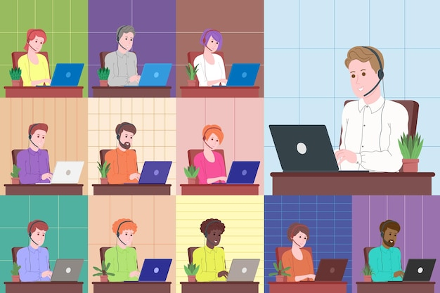 Webinar, videokonferenzvektorillustration, online-meeting-konzept, arbeit von zu hause aus, flaches design. telearbeit, soziale distanzierung, geschäftsdiskussion. charakter, der online mit kollegen spricht.