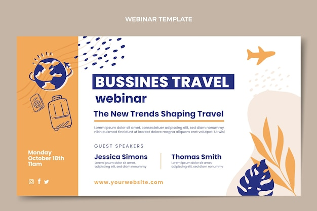 Webinar-vorlage für flache geschäftsreisen business
