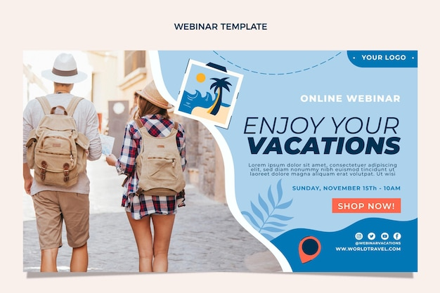 Webinar-vorlage für flaches design für reisen