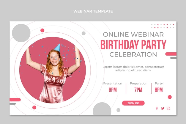 Webinar zum minimalen geburtstag im flachen design