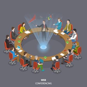 Webkonferenzen flach isometrisch niedrig poly.