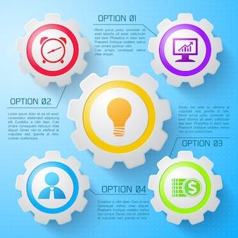 Webkonzept des infografikmechanismus mit den bunten symbolen der mechanischen zahnräder vier optionen auf hellblauer illustration
