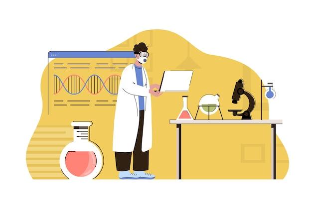 Webkonzeptillustration der biologischen entdeckungen mit flachem leutecharakter