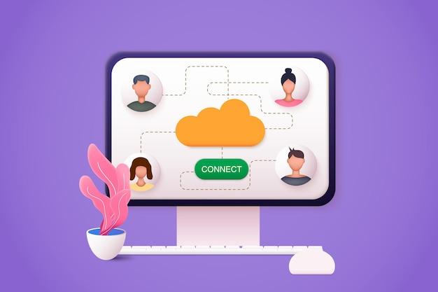 Webmail-dienstkonzeptcomputer mit geöffneten seiten