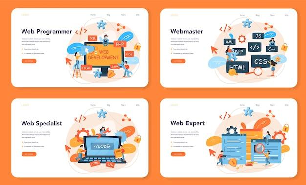 Webprogrammierung weblayout oder landingpage-set. programm zum codieren, testen und schreiben von websites unter verwendung des internets und verschiedener software. webseitenentwicklung .