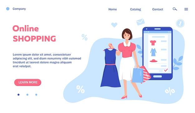 Webseite für online-shopping- und verkaufskonzept. smartphone mit einkaufsbestellung auf dem bildschirm und glücklichen frauen mit neuen kleidern und einkaufstaschen.